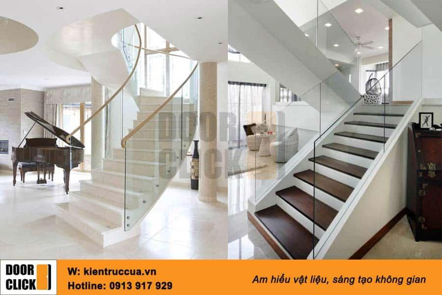 Cầu thang kính cường lực - dùng pad hông và tay vịn gỗ Lim