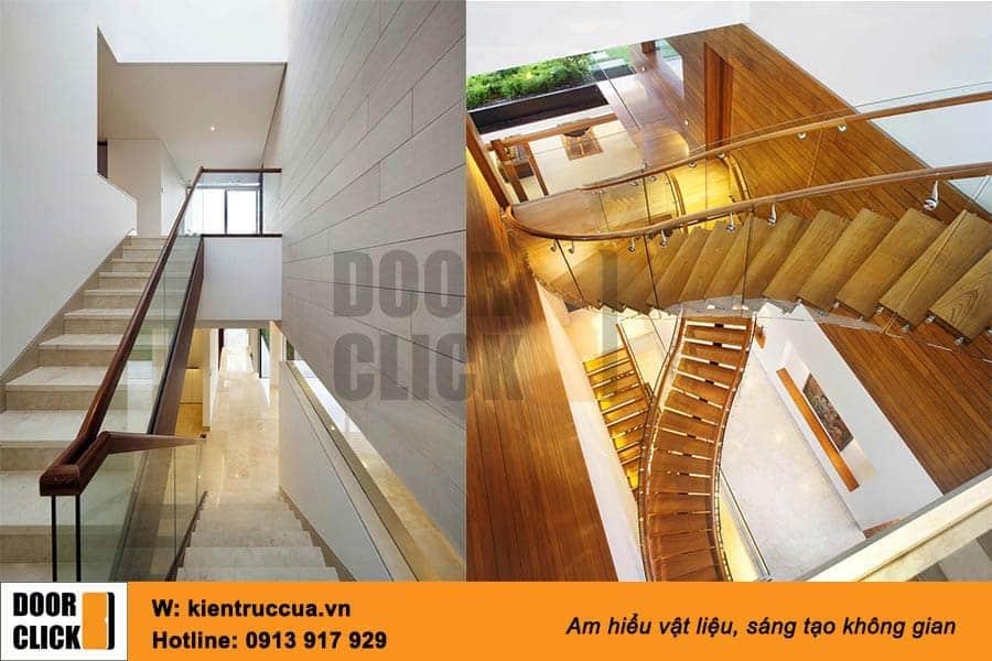 cầu thang kính kết hợp gỗ