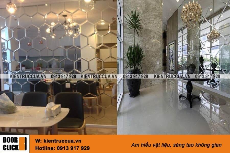 Gương bỉ dán trang trí tường phòng khách