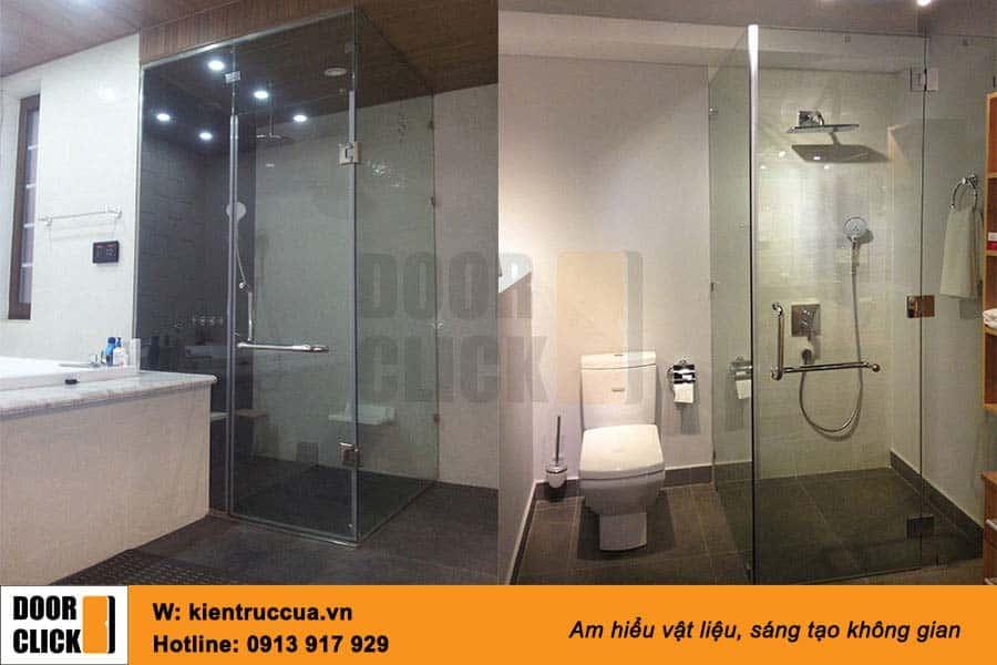 vách tắm kính ghép vuông góc