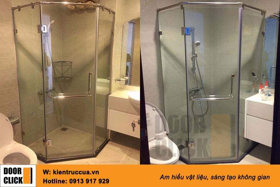 vách kính tắm ghép vát