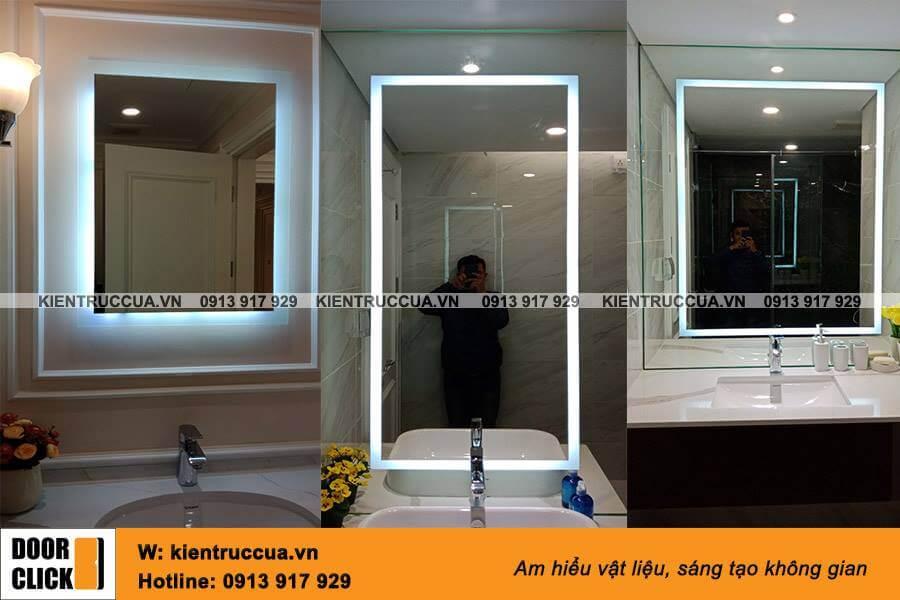 Gương Bỉ đèn led lắp đặt trong phòng tắm