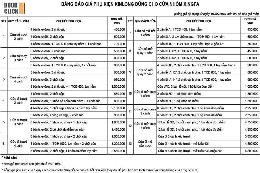 Báo giá phụ kiện Kinlong chính hãng