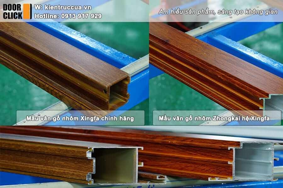 Nhôm Xingfa màu vân gỗ nhập khẩu chính hãng