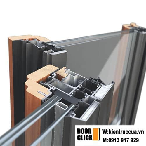 Cửa lùa nhôm ốp gỗ