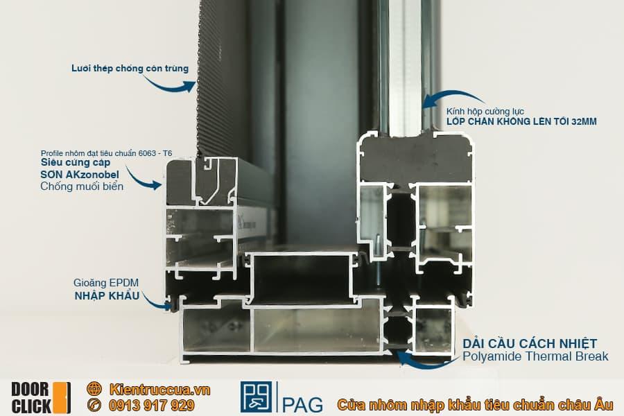 Cửa nhôm cầu cách nhiệt PAG