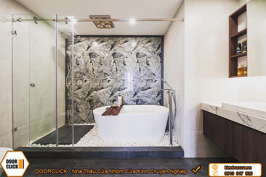 Vách ngăn phòng tắm kính cường lực mở lùa