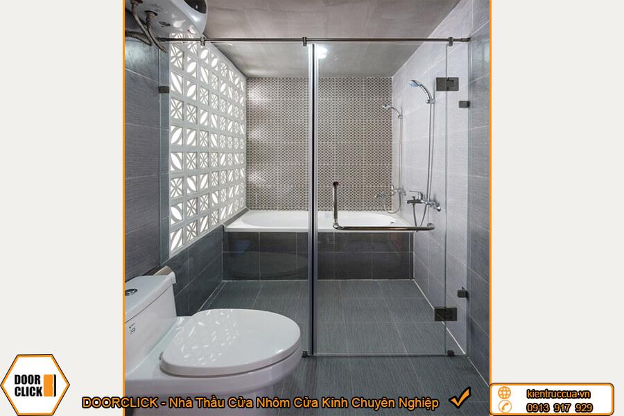 Vách ngăn phòng tắm kính cường lực mở quay